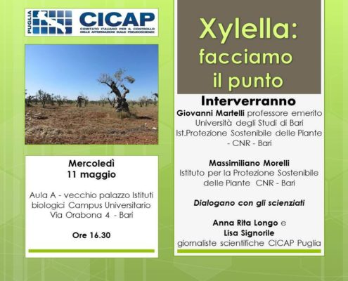 The poster for the CICAP event on Xylella