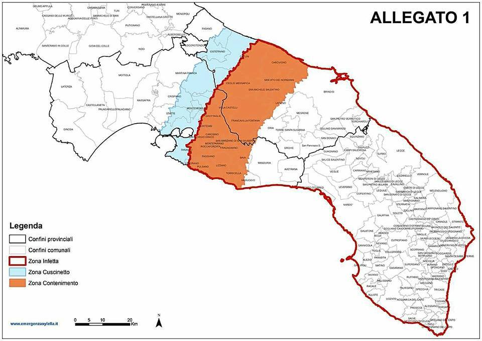 Demarcated areas for Xylella fastidiosa in Apulia Region on May 24, 2016