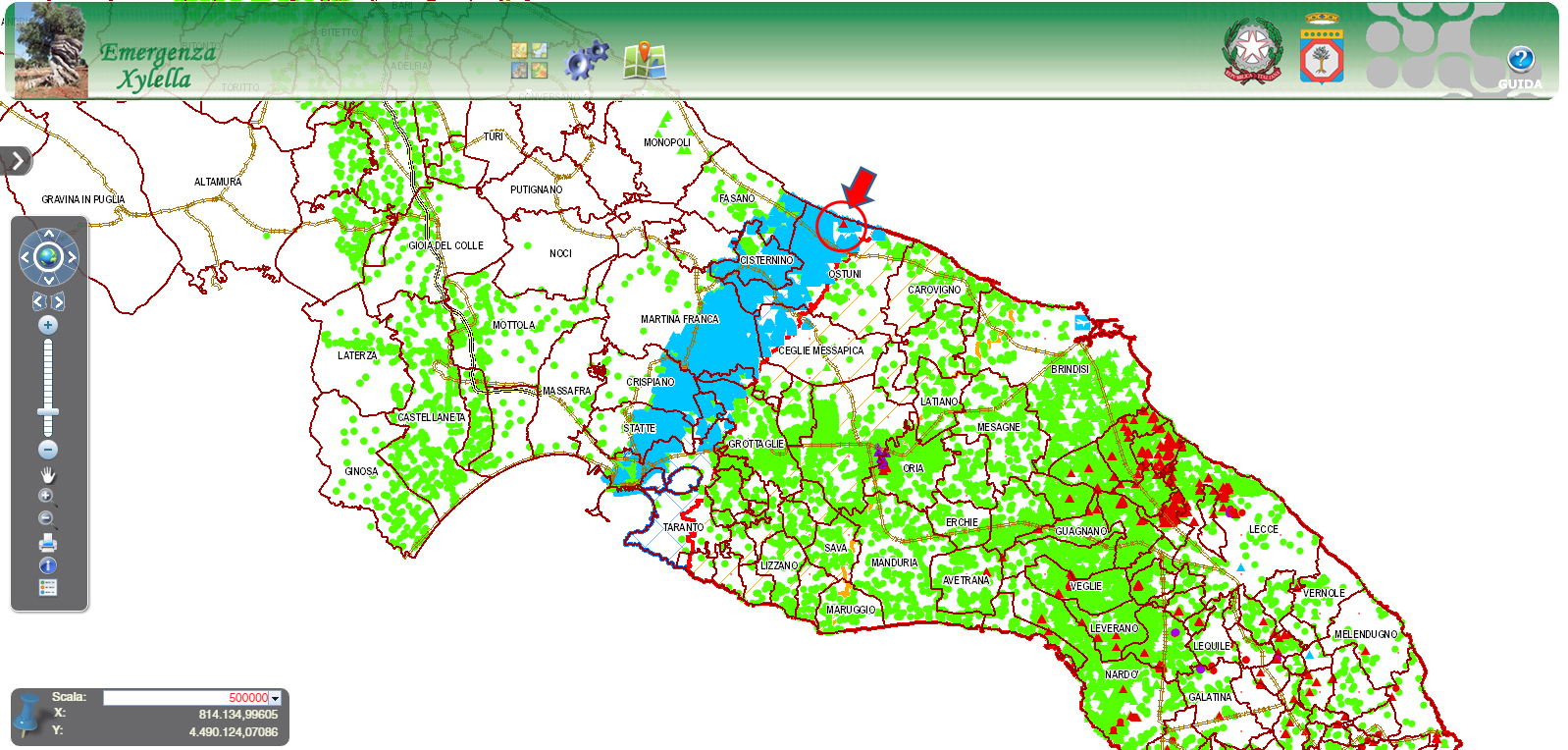Location of the new outbreak of Xylella fastidiosa in Apulia (red arrow).
